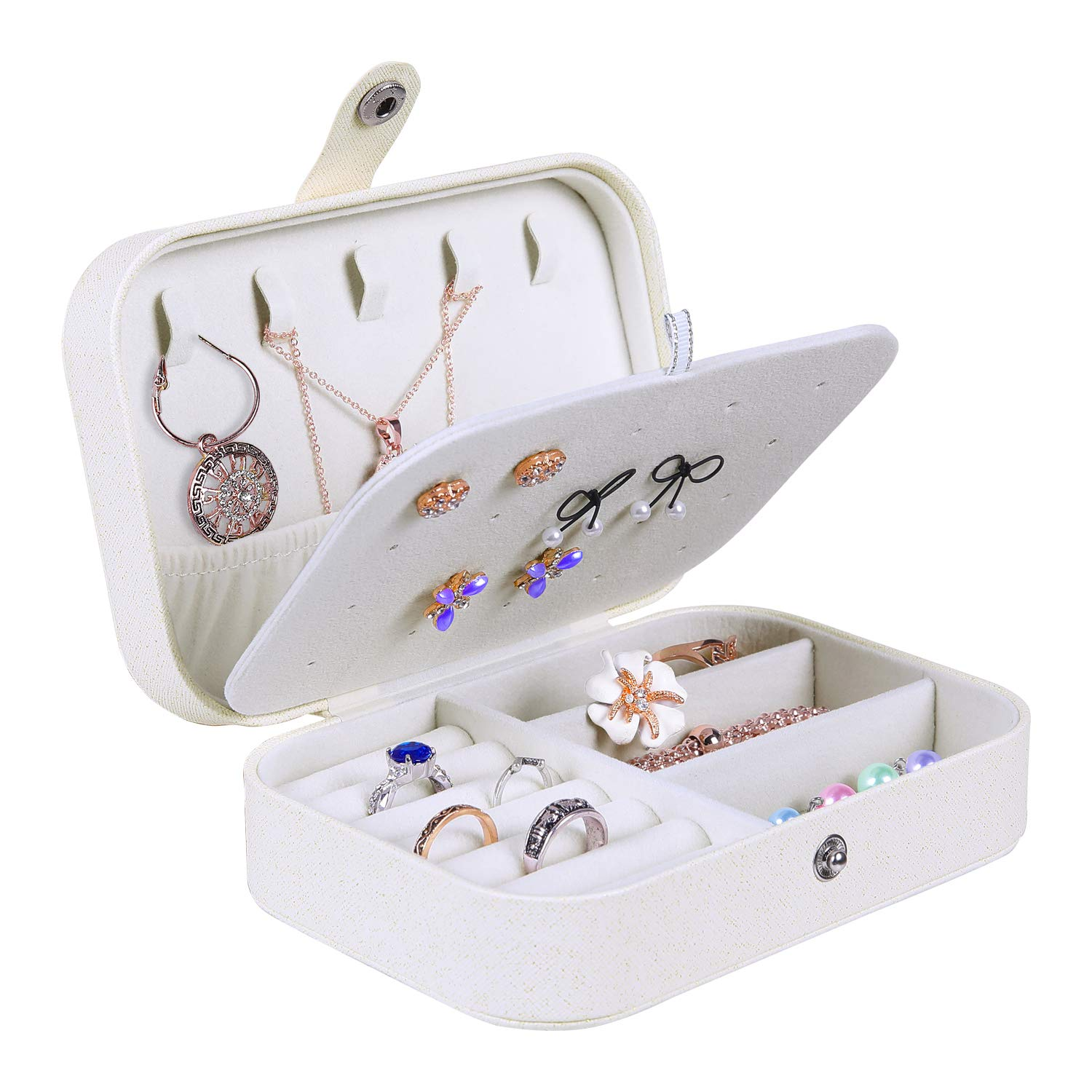 misaya Jewelry Box for Women Doubel Layer Travel Jewelry Organizer for Necklace Earring Rings Sparkle Jewelry Holder Case, Sparkle Beige White by misaya