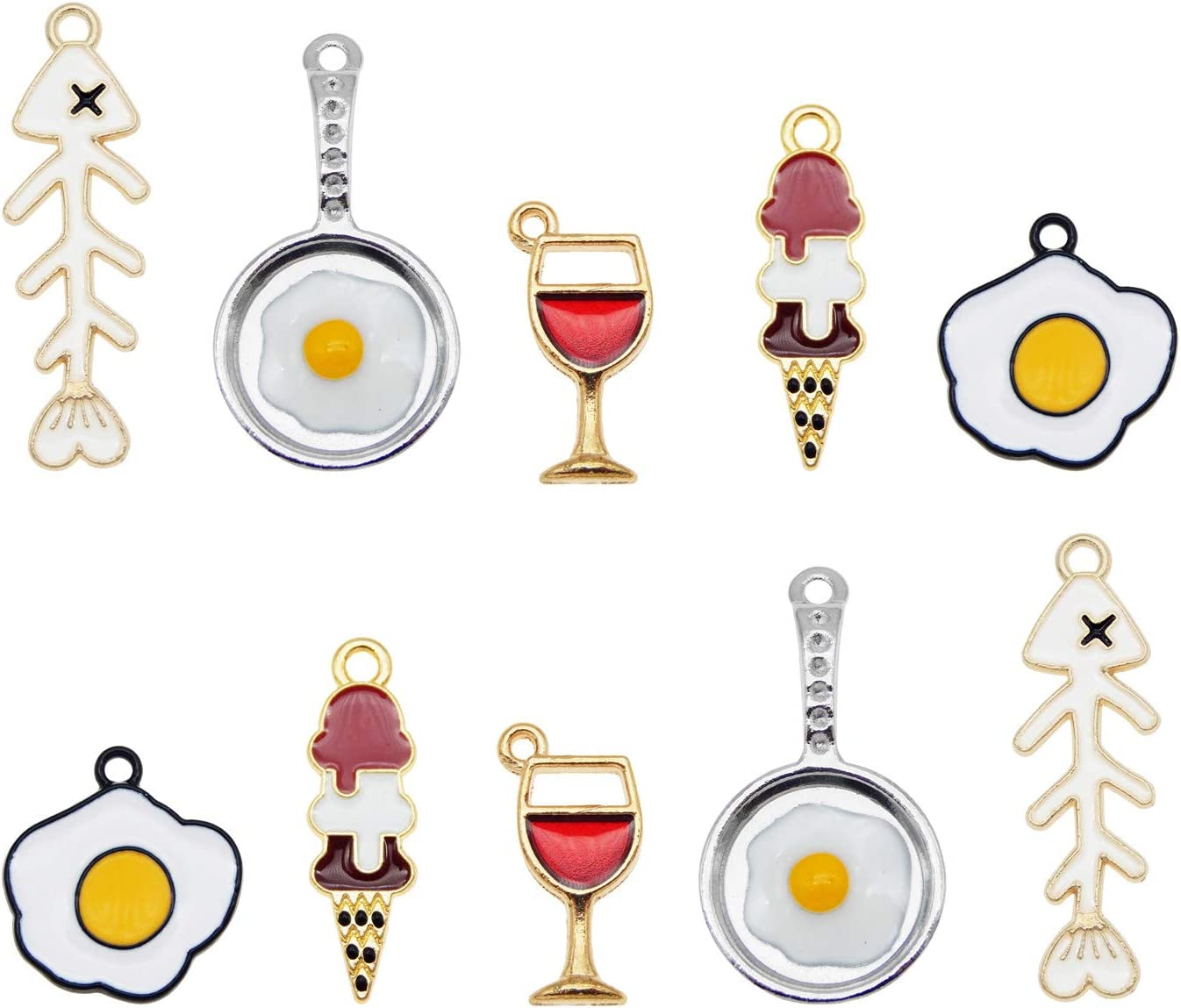 50pcs Mixed Enamel Food Charm Ice Cream Ball Cone Fish Fried Egg Glass Wine Pendants for Jewelry Making Bracelet Necklace Girl DIY Craft Finding