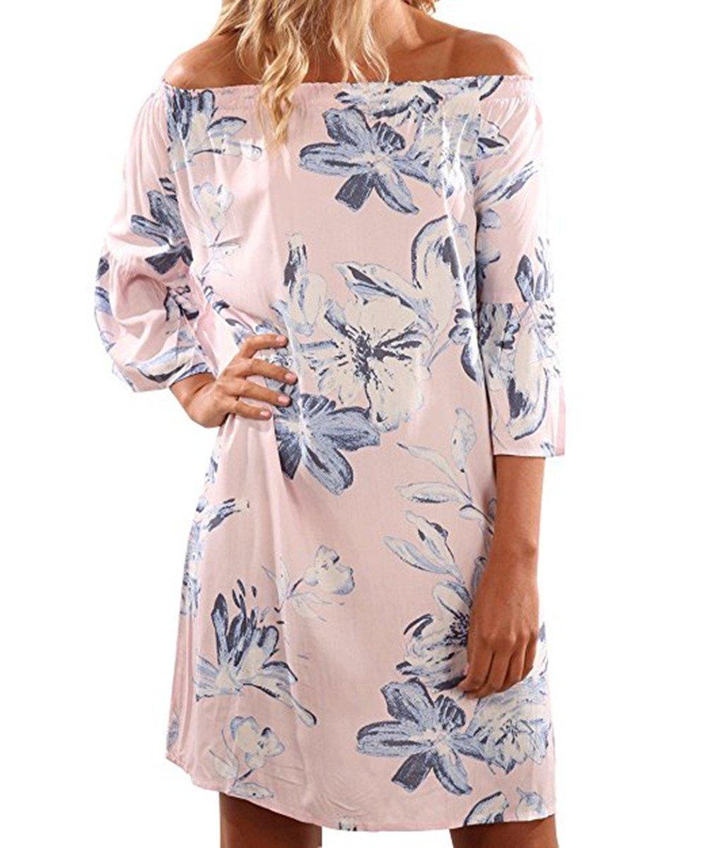fe0f1268ad0 Galleon - Yobecho Women Summer Off Shoulder Strapless Floral Print Pleated  Dresses(Fake Seller yujinxiu) (Medium