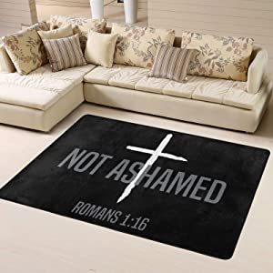 Wolfdinner Not Ashamed Romans 1_16 Christian Super Soft Personalized Home Rugs Decoration Indoor Anti-Slip Kids Playroom Carpets 63x48 Inches