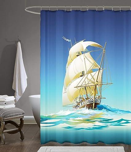 Amazoncom Pirate Boat Print Standard Shower Curtain Set Cortina