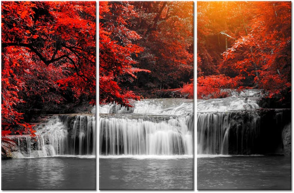 Visual Art Decor 3 Pieces Forest Canvas Wall Art Black White and Red Trees Waterfall Landscape Picture Prints Modern Home Living Room Office Painting Ready to Hang