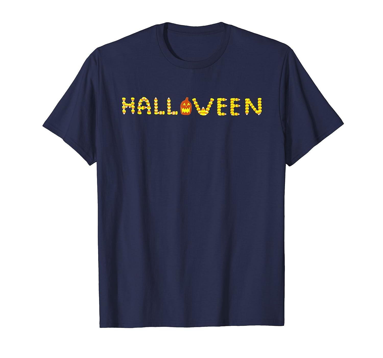 Candy Corn Halloween Pumpkin T-Shirt Maze Art Party Tee Top-Rose