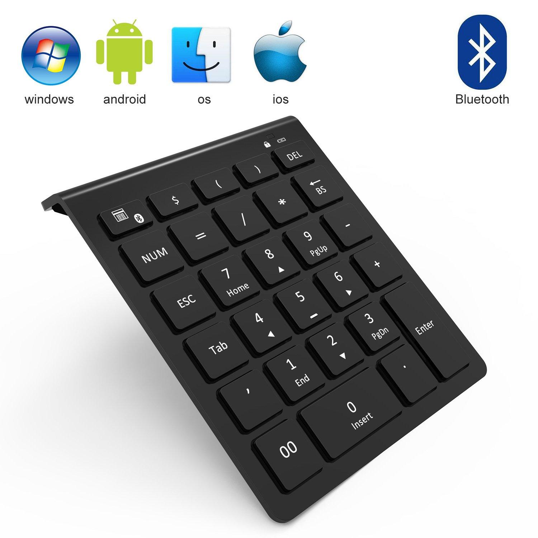 Bluetooth Numeric Keypad, Vive Comb 28-Key External Numeric Keypad with Shortcuts Numpad for Laptop, Desktop, PC, Notebook-Black