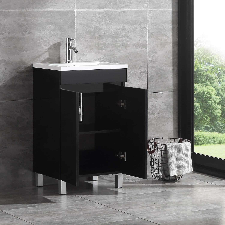 BATHJOY 20 Inch Black Single Wood Bathroom Vanity Cabinet with ...
