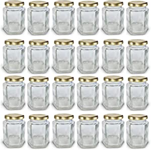 4 oz Hexagon Mini Glass Jars with Gold Lids and Labels (Pack of 24)