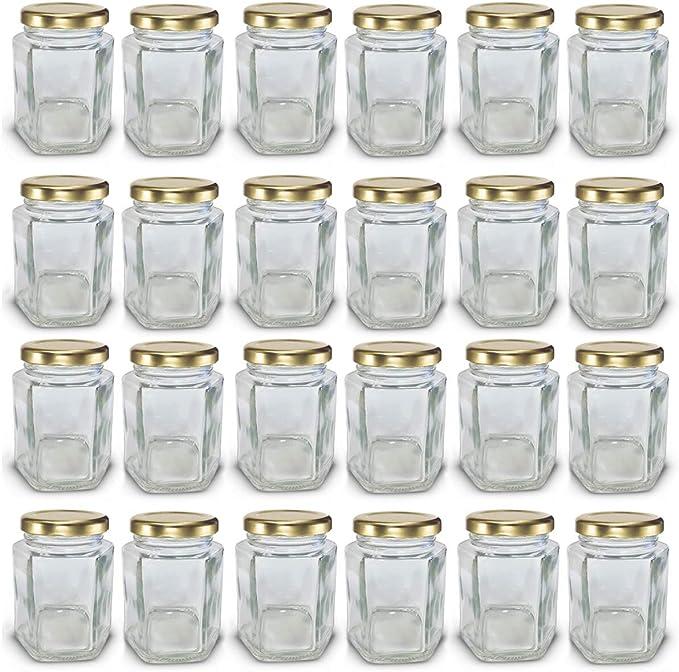24 Hexagonal 8oz Jam Jars with Gold Screw-Top Lids