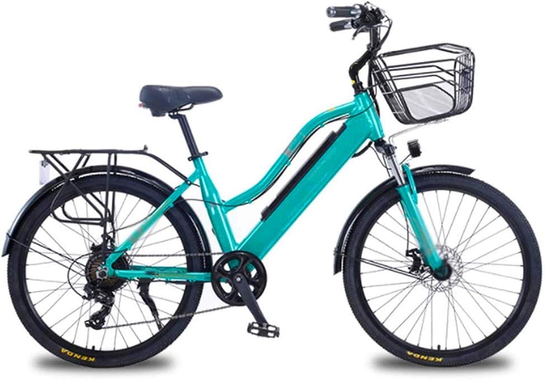 Fangfang Bicicletas Eléctricas, 26 Pulgadas Bicicletas eléctricas, Bicicletas de Aluminio allo Bicicletas 36V10A Marco Boost Adulto Mujeres for los Deportes al Aire Libre Ciclismo, Verde,Bicicleta