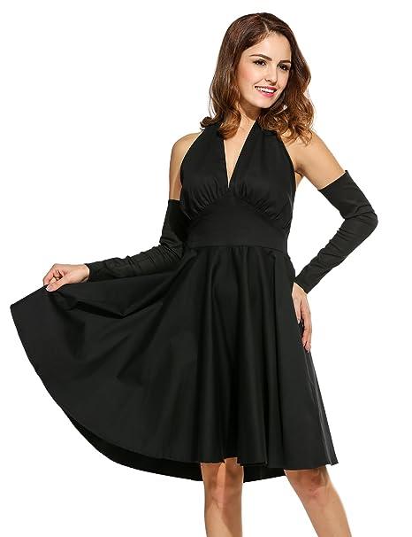 8e92c61c3cf ACEVOG Women Vintage Short Sleeve V Neck High Waist Summer Party Dress  5-black Medium