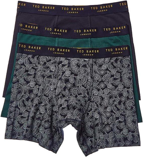 Navy//Blue Ted Baker 3-Pack Solid /& Leaf Print Men/'s Boxer Trunks