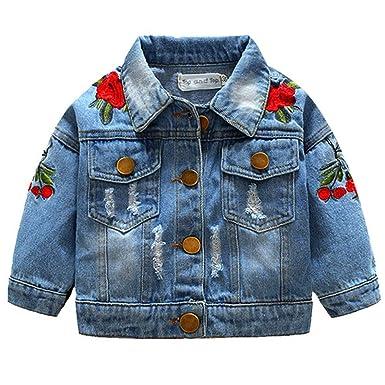 da3fbdf1be596 ARAUS Blouson en Denim Enfant Jeans Veste à Manche Longue Classique Slim  Fit 1-7Ans
