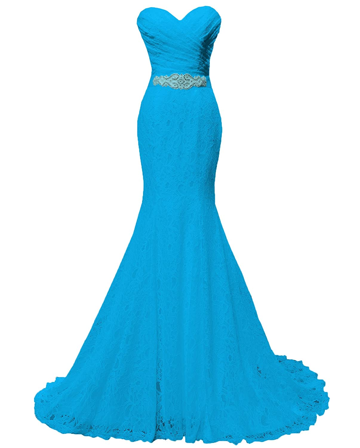Solovedress Women's Lace Wedding Dress Mermaid Evening Dress Bridal Gown with Sash W0001