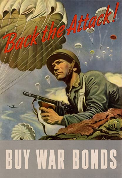 Back the Attack - Buy War Bonds - Vintage WW2 Reproduction Poster