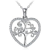 GUNDULA Collar Mujer, Colgante Plata de Ley 925 Brillante Circonita Árbol de Corazón Cadena 45cm-50cm con Hermosa Caja de Regalo Regalos Navidad