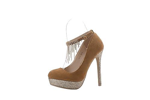 f40475de6d3 Mila Lady (ELVA08 Women Fashion Embellished Sparkles Party Pumps High Heel  Stilettos Sexy Rhinstone Ankle