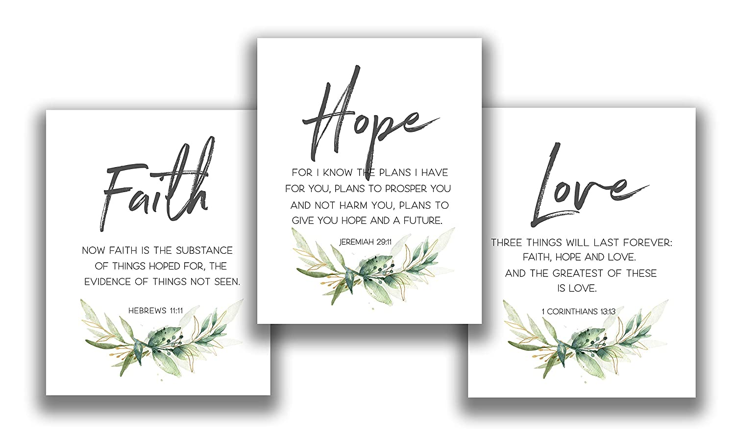 Faith, Hope & Love Bible Verse Inspirational Wall Art - Set of 3-11x14 UNFRAMED Prints - A Great Christian Religious Decor Gift. Quotes from Jeremiah 29:11, Corinthians 13:13 and Hebrews 11:11