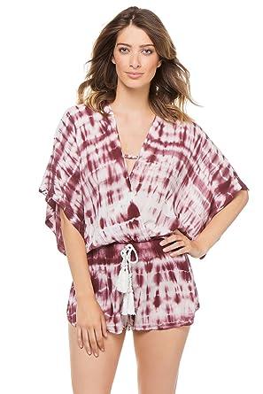 492769b582 Surf Gypsy Women's Tie-Dye Elastic Waist Romper Swim Cover Up Tan/Burgundy  M at Amazon Women's Clothing store: