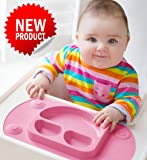 Mini EasyMat® for Highchair and Travel Feeding. Portable Baby Suction Plate & Placemat In One With Lid, Folding Sides & Carry Case. Small Sectional Baby Plate Perfect For Baby Led Weaning Age 6 Month+ by Tots R Us (Pink)
