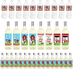 Big Dot of Happiness Farm Animals - Mini Wine Bottle Labels, Wine Bottle Labels and Water Bottle Labels - Barnyard Baby Shower or Birthday Party Decorations - Beverage Bar Kit - 34 Pieces
