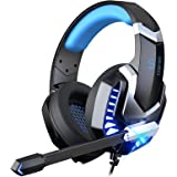 MuGo Gaming Headset for PC, Over Ear Headphones with Noise Canceling Mic, PS4 Headset with Soft Memory Earmuffs, LED…