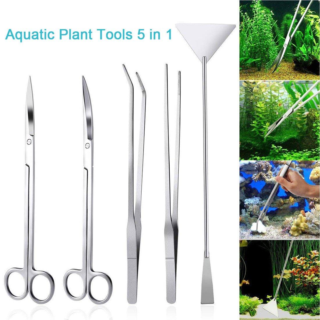 LONDAFISH Fish Tank Stainless Steel Plant Tool Set Aquarium Aquascaping Tweezers Scissors Kit 3 in 1/Substrate Spatula (5 in 1)