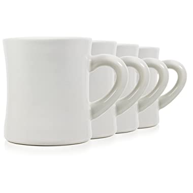 Serami Classic Cream White Diner Mugs for Coffee with 11oz Capacity, Set of 4