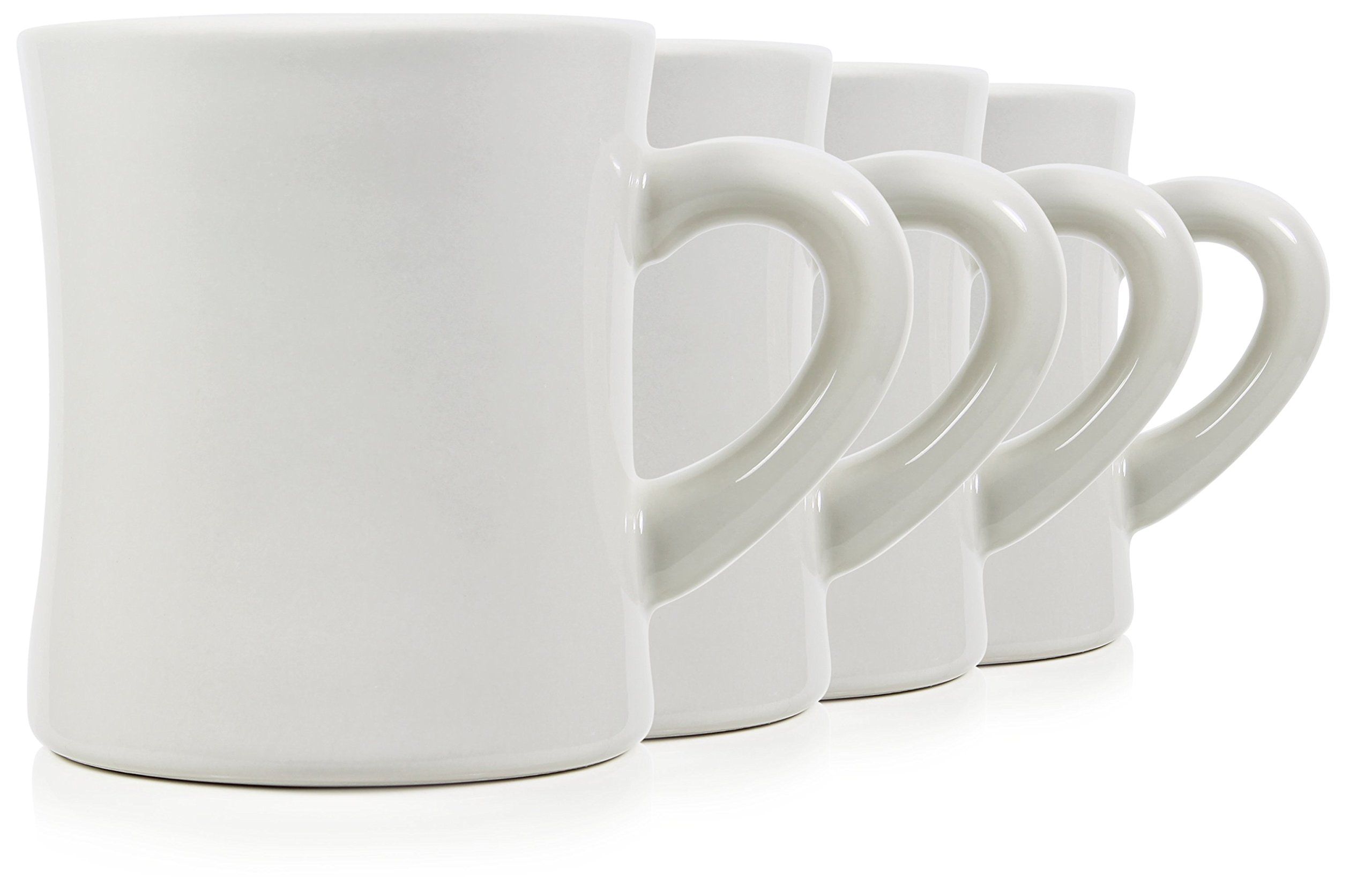 Serami 11oz White Diner Mugs for Coffee or Tea. Very Heavy Duty and Ceramic Construction, Set of 4
