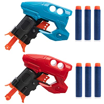 Grin Studios (2 Pack Foam Dart Gun Party Favors for Kids Foam Dart Blaster Shooter Toy Gun: Toys & Games