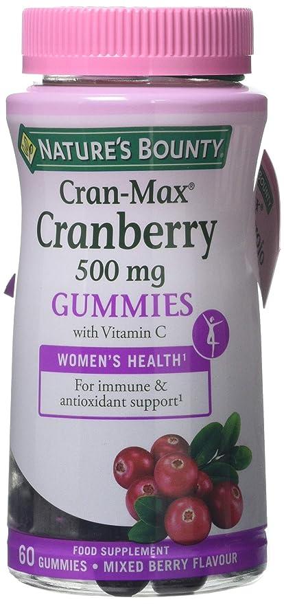 Natures Bounty Cran-Max® Arándano Rojo 500 mg Gummies. Extracto d - 60 unidadese 500 mg del fruto entero de arándano rojo, con vitamina C, que ...