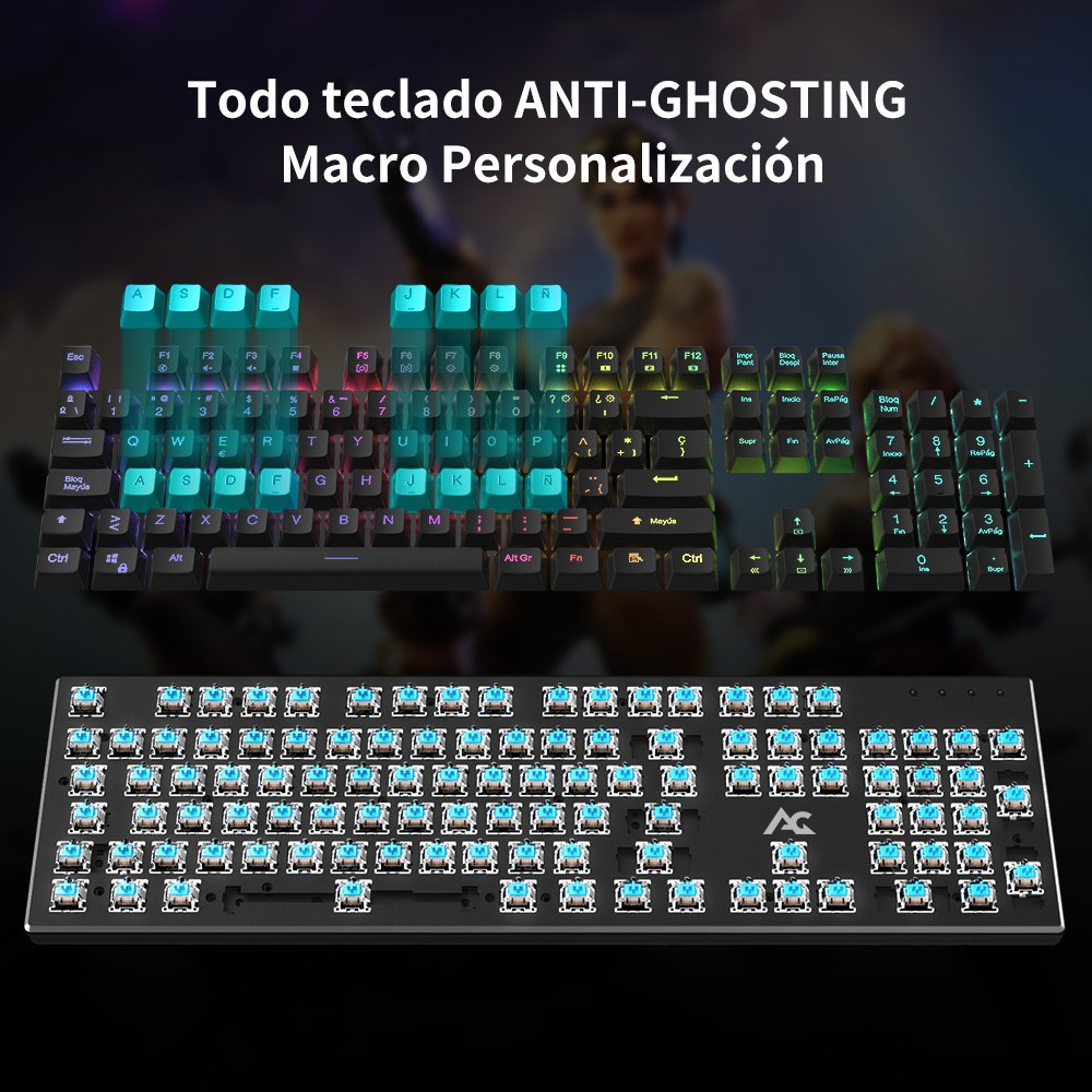 Teclado Mecánico Gaming ACGAM AG-109R 105 Teclas y Switches Blue,100% Anti-Ghosting RGB Retroiluminado Mechanical Keyboard con Disposición ...