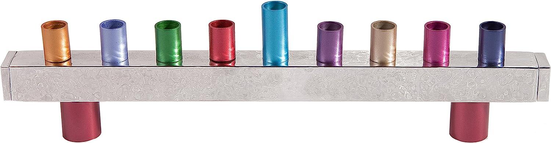 Multicolor Majestic Giftware YE-HMU-1 Anodized Classic Chanukah Menorah 12 x 7