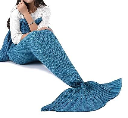 Amazoncom Laghcat Mermaid Tail Blanket Crochet Mermaid Blanket For
