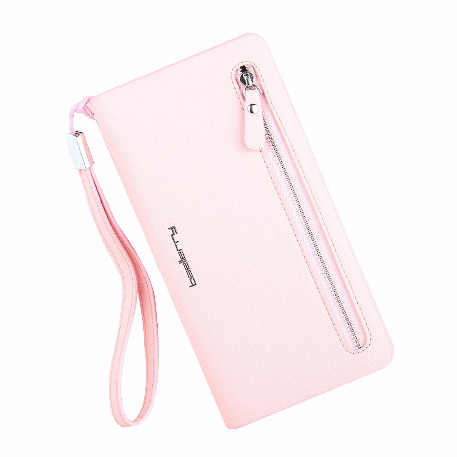 Leather Wallet RFID Blocking Zipper Purse Checkbook Card Holder Organizer Pink