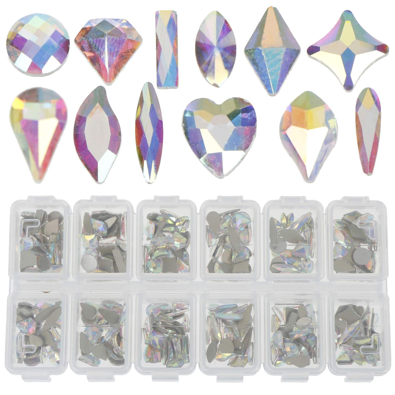 LOCOLO Nail Rhinestones - 300 Pieces Mixed 3D Nail Art Stone AB Crystal Nail Gems for 3D Nail Art Beauty Design DIY Craft by LOCOLO
