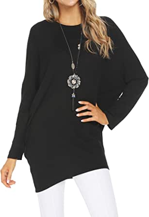 Simier Fariry Women's Loose Fit Casual Long Tunic Tops for Leggings
