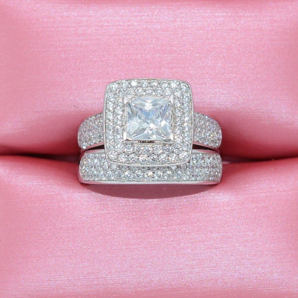 Amazon.com: BELITIFY 2.4ct Princess Cut Cubic Zirconia Wedding ring ...