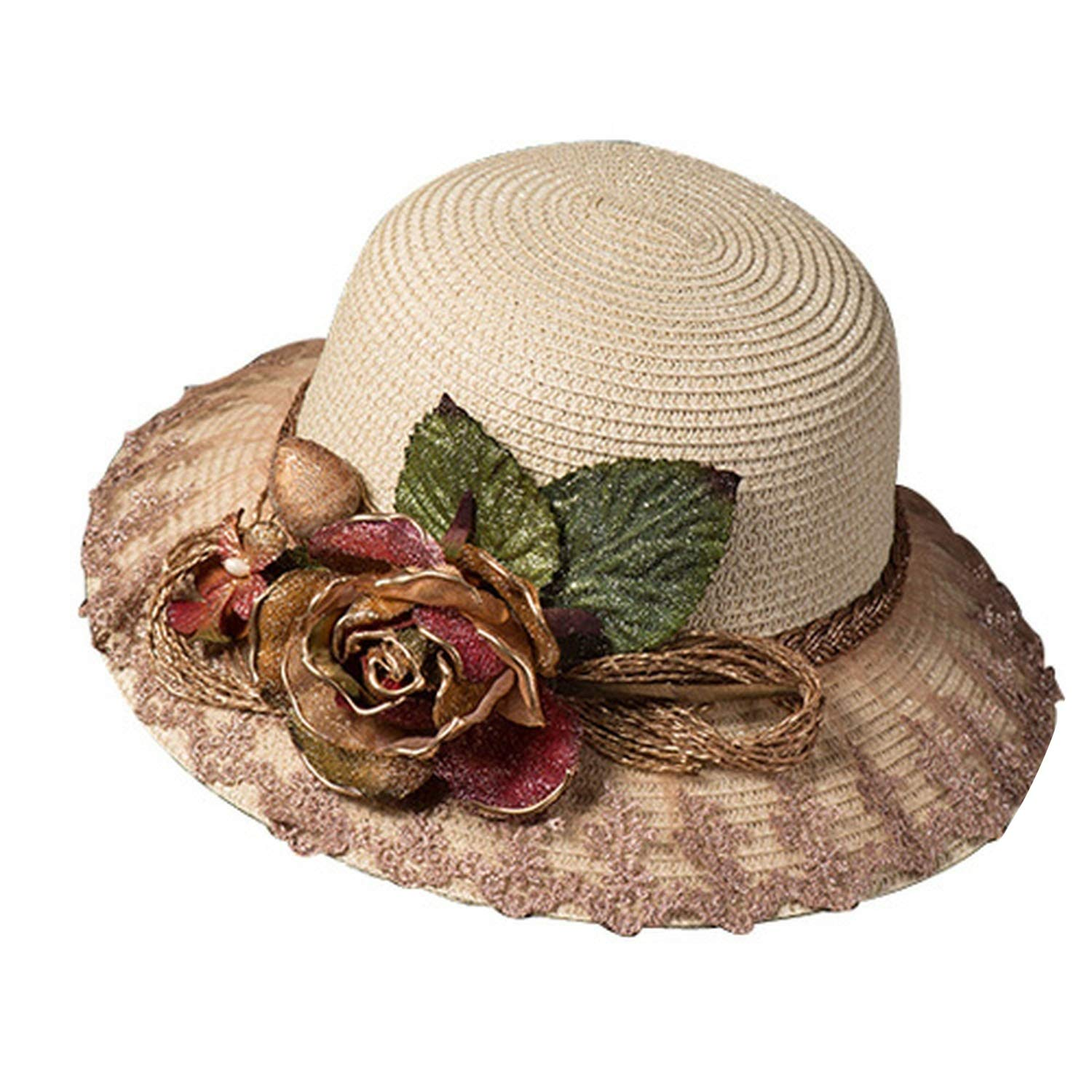 Beige tea party hat Elegant Party Hat for Women Straw Sun Hats with Simulation Flowers Ladies El,