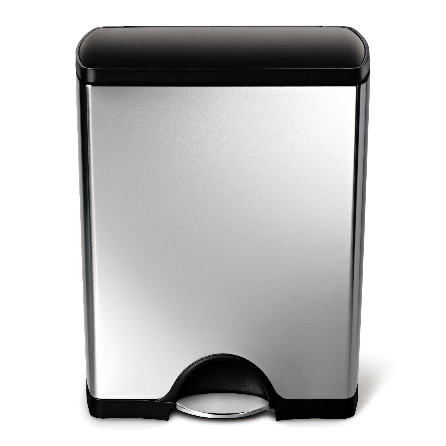 simplehuman Rectangular Recycling Step Trash Can, Stainless Steel, Plastic Lid, 46 Liter / 12 Gallon