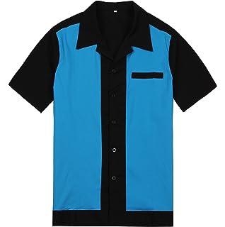 Camisa para hombre de color rojo y crema estilo vintage de rockabilly americano, para fiestas, campamentos, estilo hip hop de vaquero del oeste: Amazon.es: Ropa y accesorios