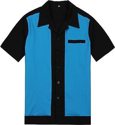 Hombres Negro Azul Rockabilly Retro Americano Botón Motocicleta Acampar Camisas Hip Hop Vaquero: Amazon.es: Ropa y accesorios