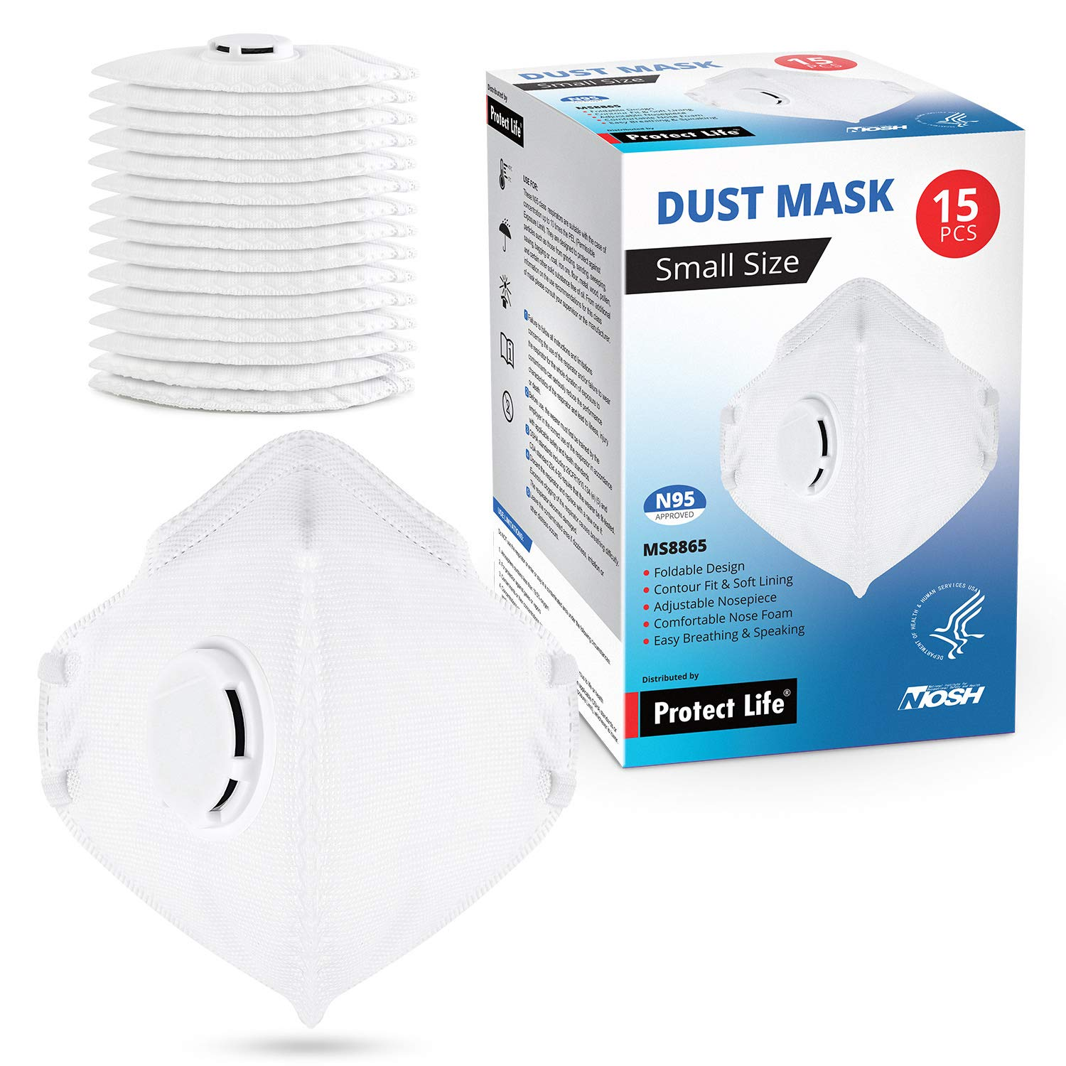 Small Size Dust Mask - 15 pack - Safety N95 Particulate Respirator w/Exhalation Valve   4-Layers Protection from dust, pollution, allergens & more by Protect Life