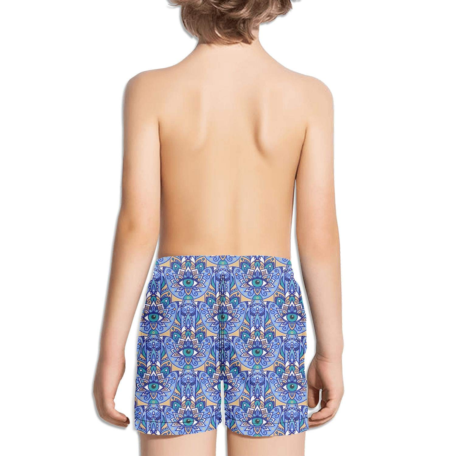 jhnkmmnc Oriental Motif Abstract Eye Plant Pattern Blue Running Printed Quick Dry Swimming Trunks Shorts