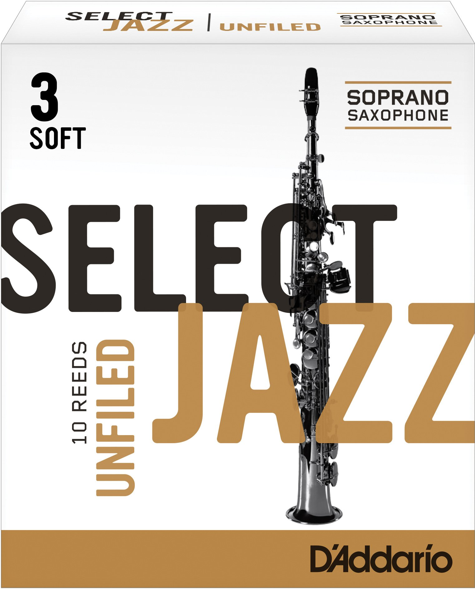 Rico Select Jazz Soprano Sax Reeds, Unfiled, Strength 3 Strength Soft, 10-pack