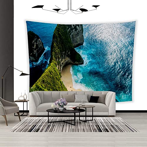 BEISISS Art Polyester Wall Hanging Tapestry,Theme- Manta Bay or Kelingking Beach on Nusa Penida Island Bali Indonesia,Bedroom Living Room Dormitory Wall Hanging Tapestry-90 x70