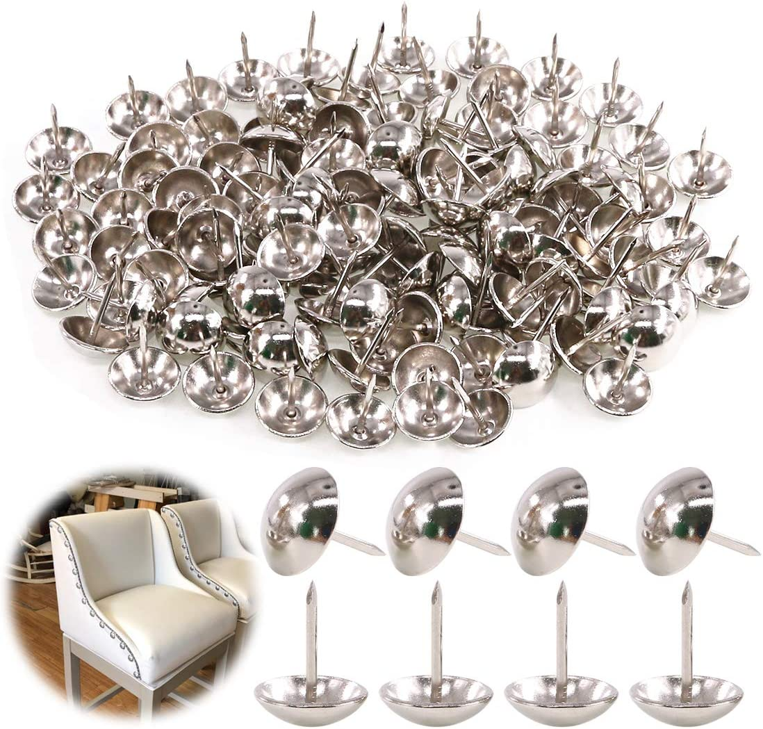 """Keadic 250Pcs 5/8"""" (16mm) Antique Upholstery Tacks Furniture Nails Pins Assortment Kit for Upholstered Furniture Cork Board or DIY Projects - Silver"""