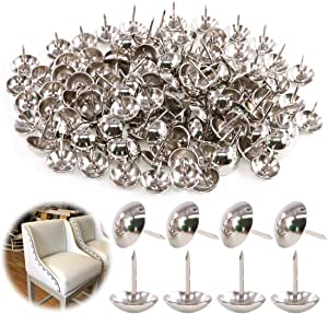 "Keadic 250Pcs 5/8"" (16mm) Antique Upholstery Tacks Furniture Nails Pins Assortment Kit for Upholstered Furniture Cork Board or DIY Projects - Silver"