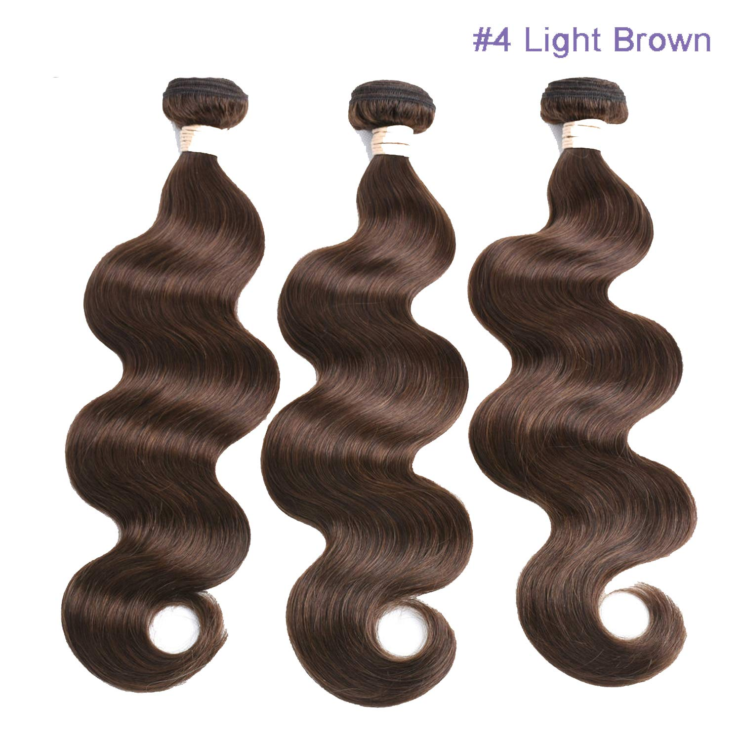 Amazon.com : Pre-Colored Human Hair Weave Body Wave Natural Black Colored  Medium Brown Hair Weaving, 16 16 18, #4 : Beauty