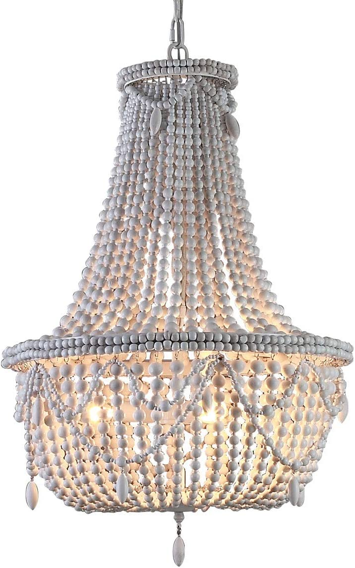 KunMai Classic Farmhouse Distressed Wood Beaded Basket 3-Light Chandelier in Antique White Gray Antique White