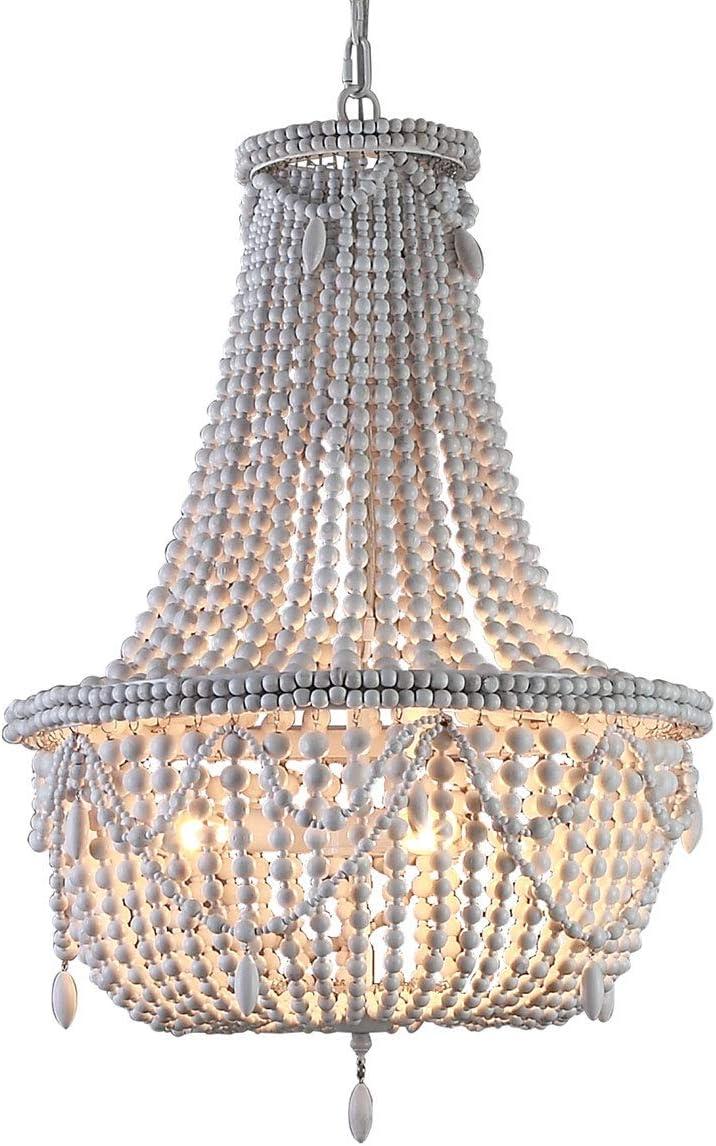 KunMai Farmhouse Distressed Wood Beaded Basket Chandelier White Pendant Three Lights Vintage Bedroom Bead Chandeliers
