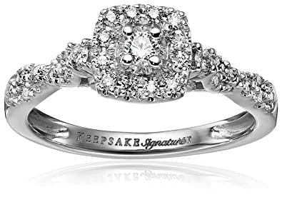 Keepsake Signature 14k White Gold Diamond Halo Vintage Engagement